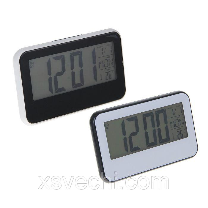 Будильник с термометром 3 батарейки ААА не в комплекте цвет МИКС