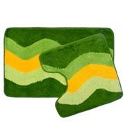 """VETTA Набор ковриков 2шт для ванной и туалета, акрил, 50x80см + 50x50см, """"Зелёный полосы"""", SCF14-004"""