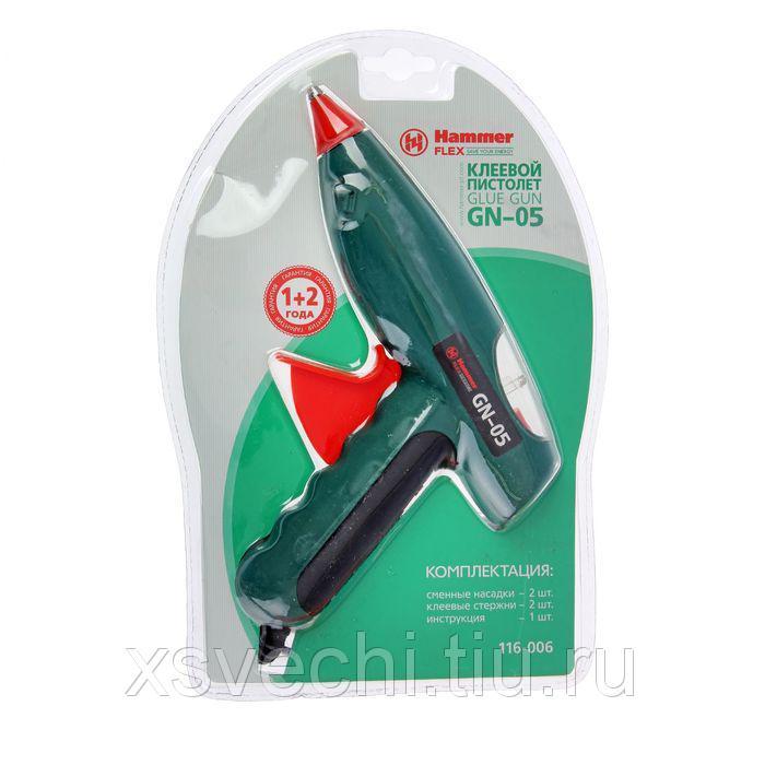 Клеевой пистолет Hammer Flex GN-05, 80 (20) Вт, 20 г/мин насадки, стержни 11.2 мм