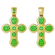 """Крест """"Спаси и сохрани"""" № 19.009 зеленая эмаль, серебро 925° с позолотой"""