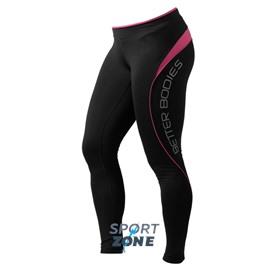 Спортивные лосины Better bodies Fitness long tight, чёрные с розовым
