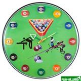 """Часы настенные """"12 шаров"""" D32 см (зеленые), пластик, интернет-магазин товаров для бильярда Play-billiard.ru"""