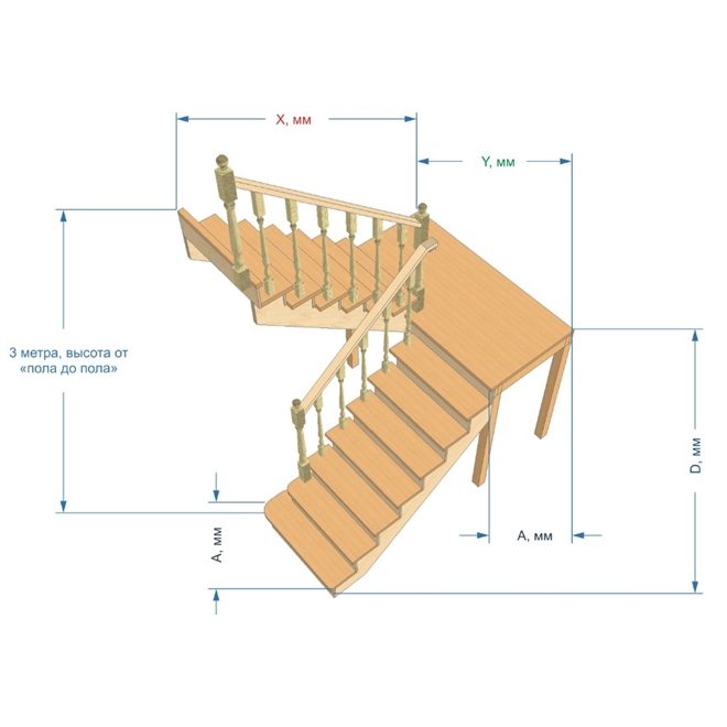Лестница на 180 градусов с площадкой своими  86