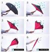 Зонт-наоборот антизонт Оранжевый (внутри черный- снаружи цветной)