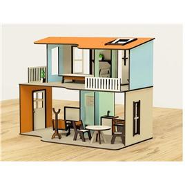 M-WOOD Кукольный домик M-WOOD Двухэтажный открытый с мебелью