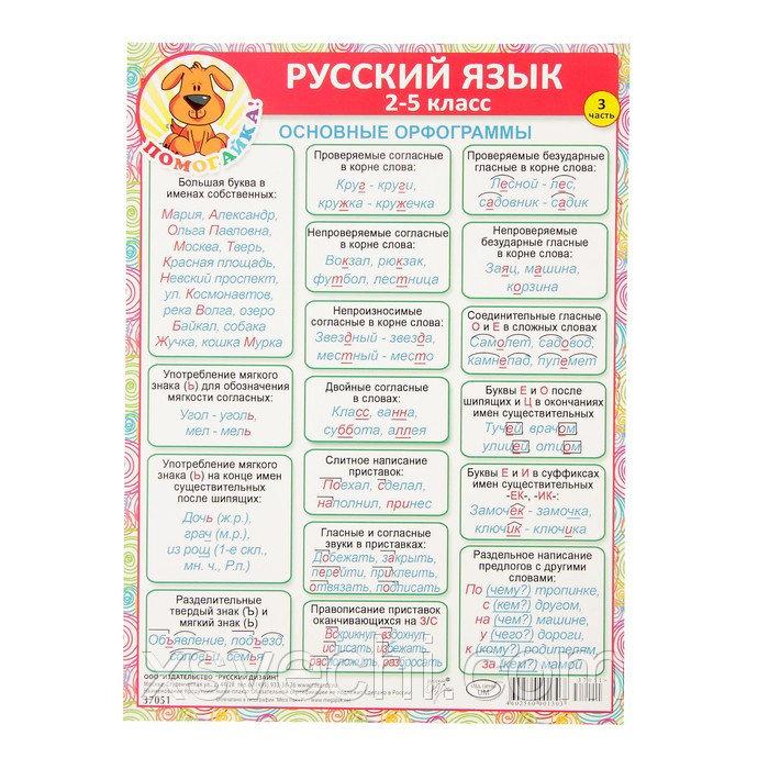 """Шпаргалка """"Русский язык 2-5 класс"""" основные орфограммы, А5"""