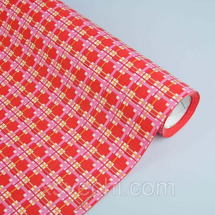 """Бумага упаковочная крафт """"Квадраты"""", красно-розовый, 0.5 х 10 м"""