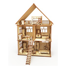 """ХэппиДом Конструктор-кукольный домик ХэппиДом """"Коттедж с мебелью"""" из дерева"""
