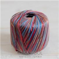 Пряжа Milleluci Color цвет Оранжево-голубой 03, хлопок с вискозой,  137м/50гр Miss Tricot Filati