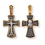 """Крест, Распятие Христово. Икона Божией Матери """"Знамение"""", СЕРЕБРО 925° С ПОЗОЛОТОЙ"""