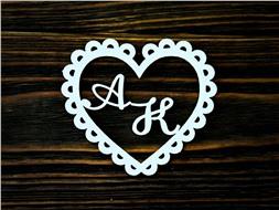 Рамка Сердце-2 с инициалами жениха и невесты
