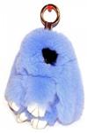 """Брелок """"Меховой Кролик"""" 19 см (натуральный мех) голубой с ресничками"""