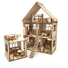 """ХэппиДом Конструктор-кукольный домик ХэппиДом """"Коттедж с пристройкой и мебелью"""" из дерева"""