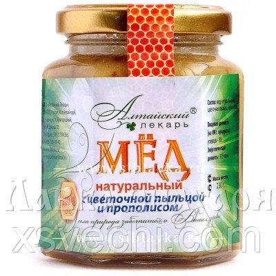 Мед натуральный с цветочной пыльцой и прополисом