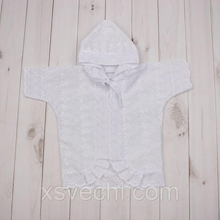 Крестильная рубашка с капюшоном, рост 68 см, цвет белый 15012_М