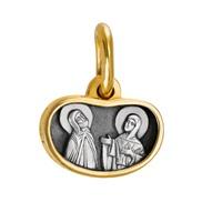 613 Образ «Св. Петр и Феврония», серебро 925 позол.