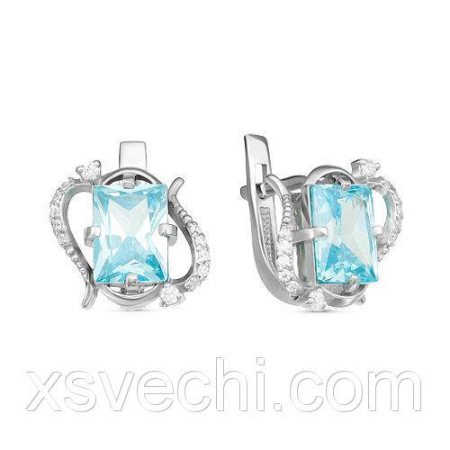Серебряные серьги с фианитами голубого цвета 036