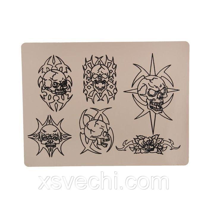Искусственная кожа для тату-практики с рисунком, толщ.1-2 мм