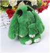 """Брелок """"Меховой Кролик"""" 19 см (натуральный мех) зеленый с ресничками"""