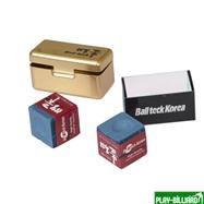 Ball Teck Мел «Ball teck PRO II» (2 шт, в золотистой металлической коробке) синий, интернет-магазин товаров для бильярда Play-billiard.ru. Фото 1
