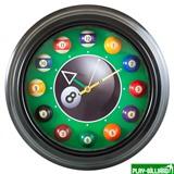 Weekend Часы настенные «12 шаров» D30 см (черные), металл, интернет-магазин товаров для бильярда Play-billiard.ru