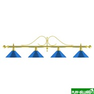 Weekend Лампа на четыре плафона «Classic Blue Light» (витая золотистая штанга, синий плафон D35 см), интернет-магазин товаров для бильярда Play-billiard.ru
