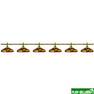 Weekend Лампа на шесть плафонов «Colorful» (золотистая штанга, цветной плафон D44см), интернет-магазин товаров для бильярда Play-billiard.ru