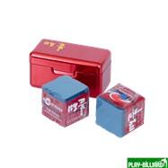 Ball Teck Мел «Ball teck PRO II» (2 шт, в красной металлической коробке) синий, интернет-магазин товаров для бильярда Play-billiard.ru. Фото 1