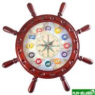 """Часы настенные """"Штурвал"""" 50 см х 50 см, деревянные, интернет-магазин товаров для бильярда Play-billiard.ru. Фото 1"""