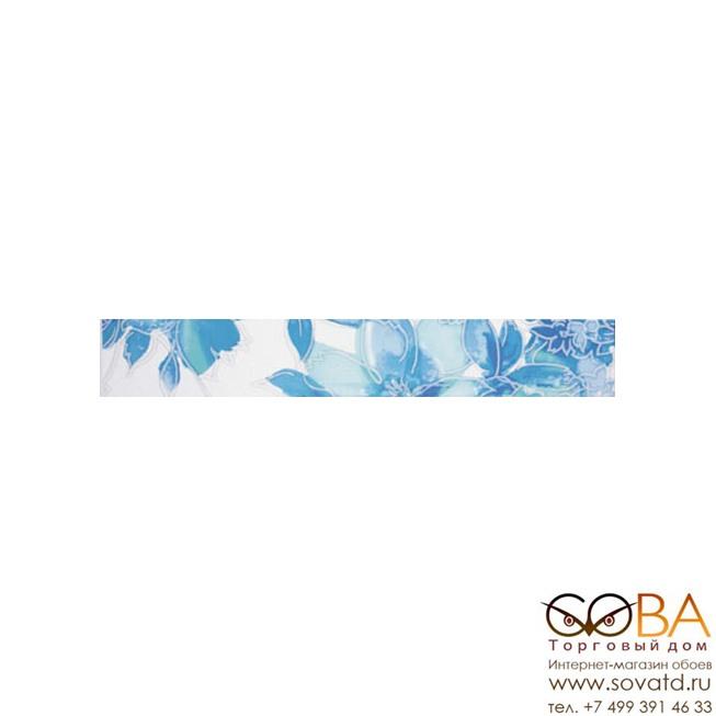 Бордюр Акварель  бирюзовый 1501-0065 6х39,8 купить по лучшей цене в интернет магазине стильных обоев Сова ТД. Доставка по Москве, МО и всей России