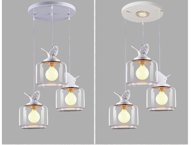 Подвесной стеклянный светильник Птицы в стекле