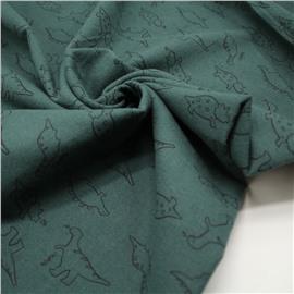 Фланель дино на темно-зеленом (утепленная)