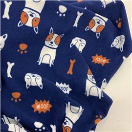 Флис собачки с косточками на темно-синем