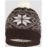 Шапка детская Norveg цвет коричневый с белыми снежинками (текстильный помпон) 7CWU-018 (M)