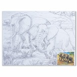 Холст грунтованный на картоне с контуром Brauberg Art Classic Слоны 30х40 см, хлопок 190631