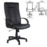 Кресло руководителя Атлант кожа, черное К-01