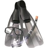 Набор маска,трубка,ласты WAVE MSF-1314S6F35 силикон,черный (р.38-41)