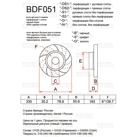 BDF051-D-S - ПЕРЕДНИЕ