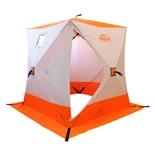 Зимняя палатка куб Следопыт 1,5*1,5 м Oxford 210D PU 1000 PF-TW-09/10 (белый/оранжевый)